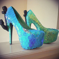 "Crystal ""Mermaid Island"" Anchor Pumps"
