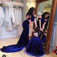 Vestido De Festa Sexy Backless Prom Dresses Arabic Royal Blue Mermaid Mother Daughter Party Dress Formal Occasion Evening Gown