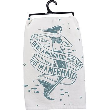 """There's A Million Fish In The Sea But I'm A Mermaid Dish Cloth Towel   Novelty Silly Tea Towels   Cute Kitchen Hand Towel   28"""" Square"""