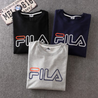 FILA Print  Long Sleeve Round Neck Sweatershirt Pullover