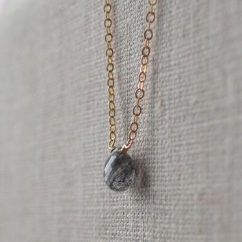 NEW Gemstone Necklace, Black Rutilated Quartz, Simple Gold Choker, Genuine Stone Solitaire, Dainty Jewelry, Free Shipping