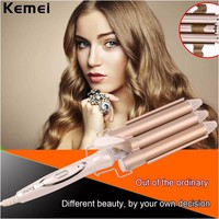 Three Barrels Tourmaline Ceramic Hair Curler Perm Splint Curling Iron Roller Large S Waves Electric Magic Hair Styling Tool 45W
