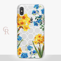 Floral Clear Phone Case - Clear Case - For iPhone 8 - iPhone X - iPhone 7 Plus - iPhone 6 - iPhone 6S - iPhone SE Transparent - Samsung S8