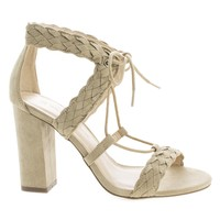 Luciana91 Natural By Wild Diva, Open Toe Lace Up Block High Heeled Sandals