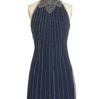 ModCloth Vintage Inspired Mid-length Sleeveless Sheath In the Midnight Wower Dress