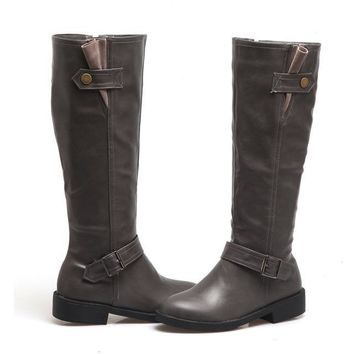 New Women Chunky Low Heel Riding Boots Wide Calf Side Zipper And Buckle Knee High Boots Winter Shoes