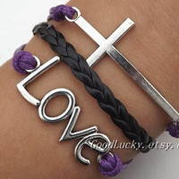 Lovers Bracelet -- Unisex fashion silver LOVE and cross bracelet, black leather and purple wax rope braided leather bracelet