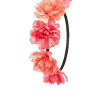 Red Combo Two-Tone Peony Flower Crown by Charlotte Russe