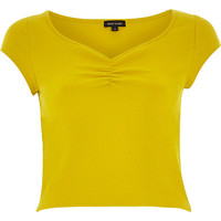 River Island Womens Yellow sweetheart ruched crop top