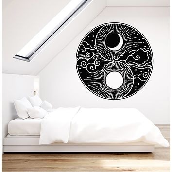 Vinyl Wall Decal Abstract Moon Sun Sky Day Night Bedroom Decor Stickers Mural (g1086)