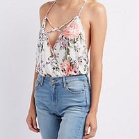 FLORAL PLUNGING STRAPPY BODYSUIT