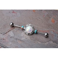 Opal Industrial Barbell Scaffold Piercing