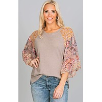 Printed Bell Sleeve Waffle Knit Top