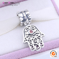 Hamsa Hand Charms Fits Original Pandora Bracelet 925 Sterling Silver Evil Eye Floating Charm Beads With Red Crystal DIY Jewelry