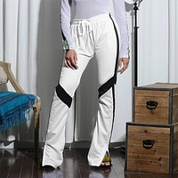 Women Casual Stripe Webbing Multicolor Side Split Leisure Pants Trousers