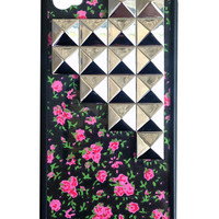 Rose Buddies Silver Studded Pyramid iPhone 4/4s Case