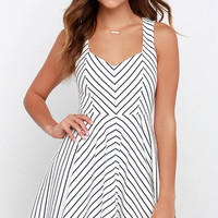 Others Follow Cross the Line Navy Blue and Ivory Striped Dress