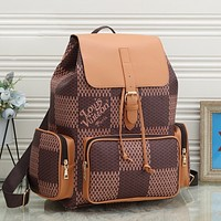 LV Louis Vuitton New Color Block Check Backpack School Bag Daypack