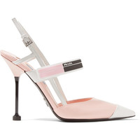 Prada - Logo-print glossed-leather slingback pumps