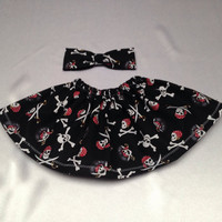 Baby Girl Black and Red Skulls and Bones  skirt Little girl Skirt, Childs Skirt, NicolasSewing, Free Bow with Skirt