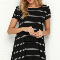 Stand in Sunlight Black Striped Dress