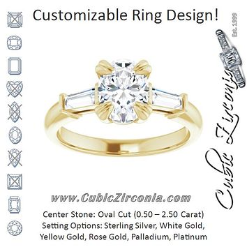 Cubic Zirconia Engagement Ring- The Betyhelena (Customizable 3-stone Oval Cut Design with Tapered Baguettes)