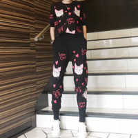 """""""Gucci"""" Women Casual Fashion Cat Letter Middle Sleeve Trousers Set Two-Piece Sportswear"""