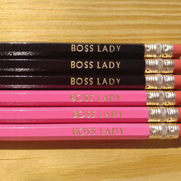 BOSS LADY Pencils | Gift for Boss | Gifts for her-Boss Lady | Cute pencils | Hexagon Pencils | Motivational Pencils | Pink & black Pencils