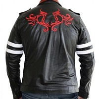 Alex Dragon Game Jacket - Black PU Leather Jacket