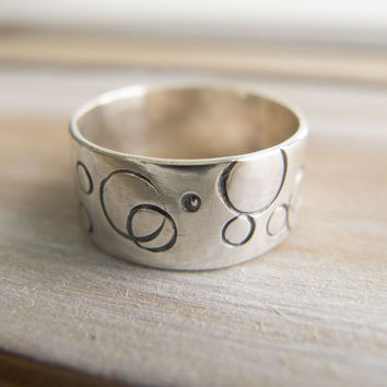 Sterling Silver Rings For Women, Geometric Ring, Geometric Circle Ring For Women, Circle Ring, Wide Stamped Band, Bubble Ring, Minimalist