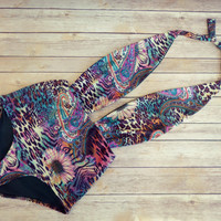 Beautiful Swimsuit - Vintage Retro Style High Waisted Swimming Costume Swimwear  Bohemian Style Floral Paisley and Animal Print Bathing Suit
