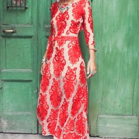For Love & Lemons San Marcos Maxi Dress in Red