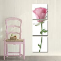 3 Piece Canvas Wall Art Wall Pictures Oil Painting Pink Flowers Home Decorative Art Picture Print On Canvas(No Frame)