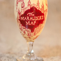 Harry Potter Drinking Glass: The Marauder's Map Water, Juice, Cocktail, Beer Glass.