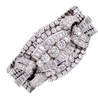 1950s Diamond Wide Platinum Bracelet | 1stdibs.com