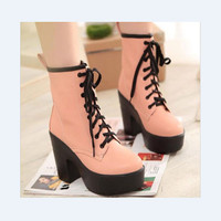 Women Punk Lace up Platform Motorcycle Chunky High Heel Ankle Boots Shoes