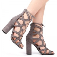 Maria Mid Ankle lace up Heels in Grey Faux Suede