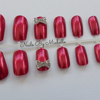 Ruby Red With Silver Rhinestone Bows Fake Nails Set