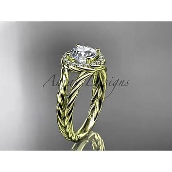 "14kt yellow gold rope halo diamond engagement ring with a ""Forever One"" Moissanite center stone RP8131"