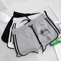 Stussy Pure cotton loose thin elastic waist letter printed casual sport shorts hot pants and wide-leg pants