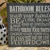 Bathroom Rules Wash Your Hands, 12x12 Primitive Wood Sign, Childrens Sign, Changing the Toilet Paper Roll CHOOSE YOUR COLORS