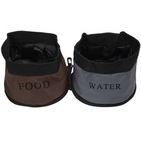 Pet Life Pet Life Zippered Double Food & Water Bowl - Camouflage Dog Travel Bowls & Waterers