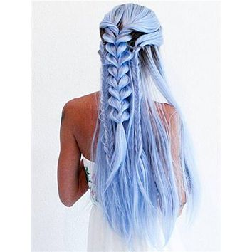 Long Light Cerulean Bright Blue Straight Synthetic Lace Front Wig