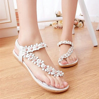Women's Fashion Sweet Beaded Flower Clip Toe Flat Bohemian Herringbone Sandals = 1928379716