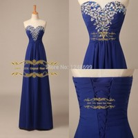 Real Image Royal Blue Prom Dresses In Stock Chiffon A Line Sweetheart Sleeveless Back Lace Up Long Rhinestone Cheap Formal Gowns-in Prom Dresses from Apparel & Accessories on Aliexpress.com | Alibaba Group