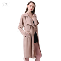 PK Camel Trench Coat for Women Turndown Collar Womens Trench Coats British Style Clothing Long Coat Female Womens Windbreakers