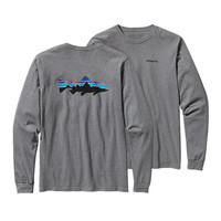 Patagonia Men's Long Sleeve Fitz Roy Trout T-Shirt- Gravel Heather
