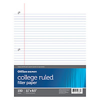 Office Depot Brand Notebook Filler Paper College Ruled 8 12 x 11 3 Hole Punched White Pack Of 150 by Office Depot & OfficeMax
