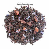 LAVENDER TRUFFLE Organic Tea, Chocolate Lavender Tea, Loose Leaf, Garden Party, Tea Party,Floral Tea,  1oz, Earth friendly packaging