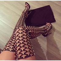 Studded Thigh High Heel Boots